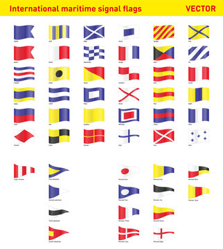 Set of international maritime signal flags