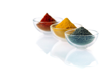 Black lava salt and spices in bowls