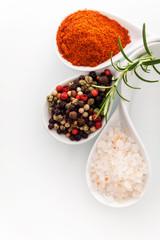 Himalayan salt and peppercorns
