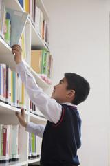 Schoolboy reaching for book off bookshelf