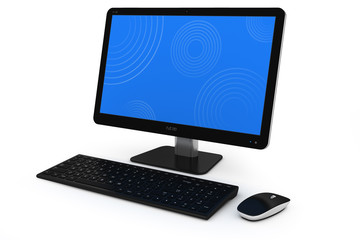 Modern home desktop PC, keybord and mouse.