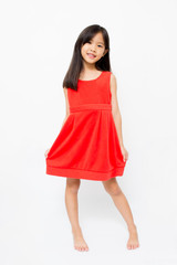 Little Asian girl in beautiful red dress