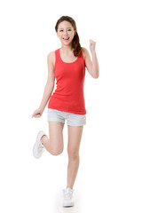 Cheerful Asian sport girl