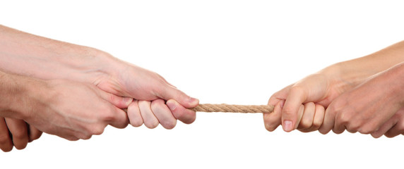 Tug of war, isolated on white