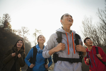 Group of young people hiking