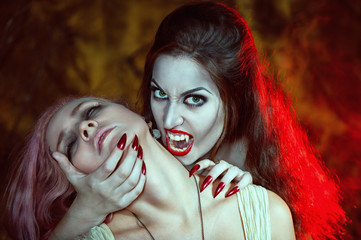 Beautiful vampire and her victim