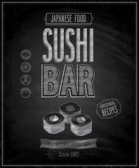 Wall Mural - Vintage Sushi Bar Poster - Chalkboard. Vector illustration.