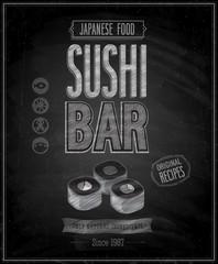 Wall Mural - Vintage Sushi Bar Poster - Chalkboard. Vector illustration.