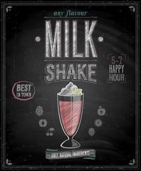 Wall Mural - Vintage MilkShake Poster - Chalkboard. Vector illustration.
