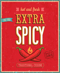 Wall Mural - Vintage Extra Spicy Poster. Vector illustration.