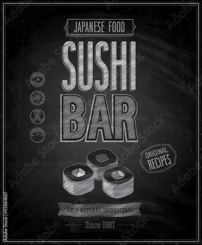 Wall mural Vintage Sushi Bar Poster - Chalkboard. Vector illustration.