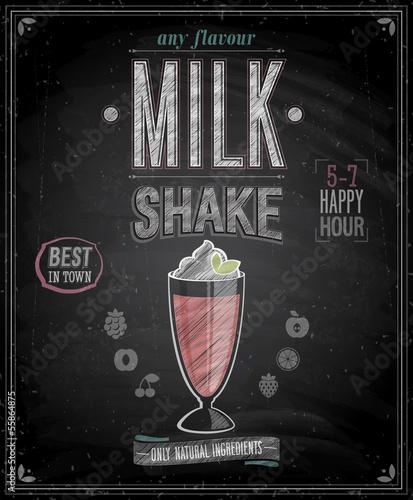 Wall mural Vintage MilkShake Poster - Chalkboard. Vector illustration.