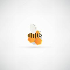 Cartoon bee in honeycomb
