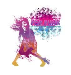 Girl playing guitar pop punk.