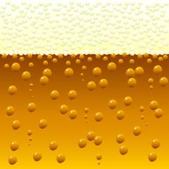 Horizontally seamless bubbling beer background.