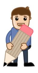 Holding a Pencil - Business Cartoon