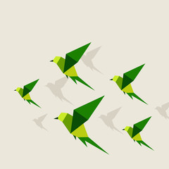 Deurstickers Geometrische dieren Bird abstraction2
