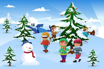 Kids skating around a Christmas tree