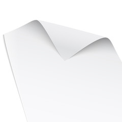 Paper with twisted corner.