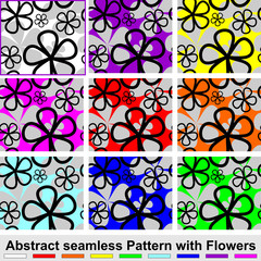 Abstract seamless Pattern with Flowers.  Set of nine colors.