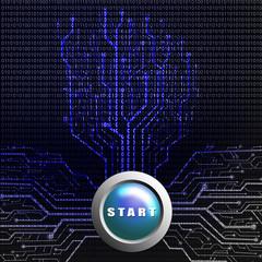 Start button on circuit board in Tree shape