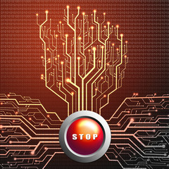 Stop button on circuit board in Tree shape