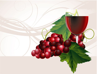 Wine and grapes. Vector.