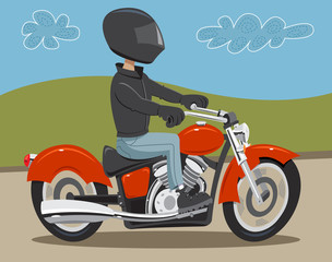 Man riding motorcycle on road wearing helmet and leather