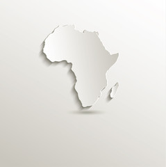 Africa map card paper 3D blank