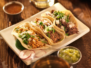 Wall Mural - authentic mexican barbacoa, carnitas and chicken tacos