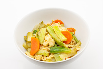 Fried stir cucumber with egg and vegetable for vegetarian