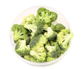 broccoli in a bowl on white background