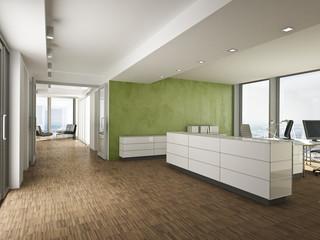 Büro Empfang mit grüner Wand