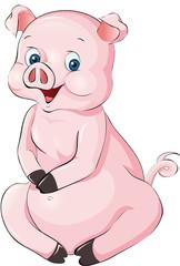 sitzendes Schwein