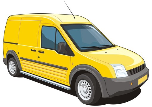 Vector isolated delivery van