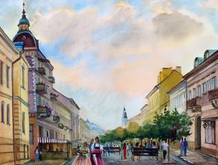 Watercolor painting cityscape of Chernivtsi