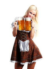 woman in tiroler or oktoberfest style with a beer
