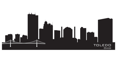 Fototapete - Toledo Ohio city skyline vector silhouette