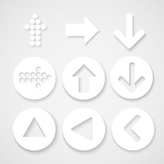 Arrow sign icon set. Simple circle shape internet button