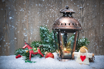 Wall Mural - Christmas lantern in the snow