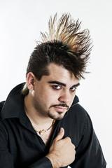 Punk man with mohawk portrait