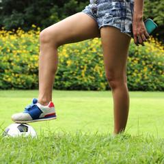 Leg of female soccer player