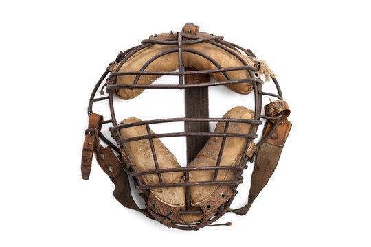 Vintage baseball catchers mask isolated on white