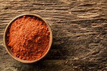 Bowl of ground red cayenne pepper