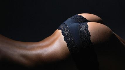 Nude female body in sexy underwear