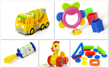 A collection of plastic toys for kids. Isolated