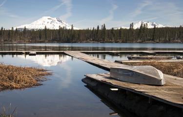 Cascade Mountain Range Rises Above Alpine Lake Oregon State