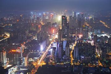Shenzhen city in night light. Bird view
