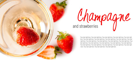 cold champagne with strawberries