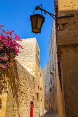 Tiny street in Mdina full of limestone buildings and flowers